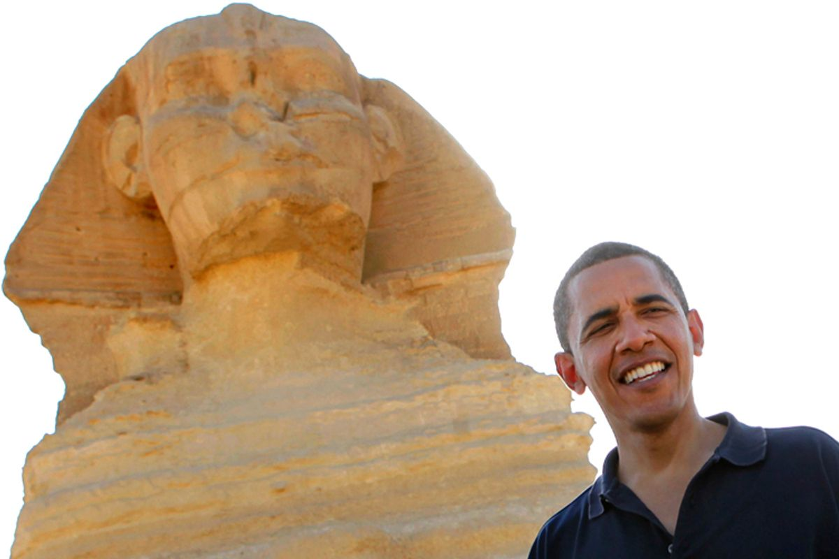 President Barack Obama tours the Sphinx and pyramids outside Cairo, Thursday, June 4, 2009.