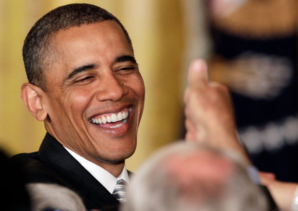 President Barack Obama greets audience members during a reception in honor of Jewish American Heritage Month at the White House, Tuesday, May 17, 2011, in Washington.  (AP Photo/Carolyn Kaster) (Associated Press)