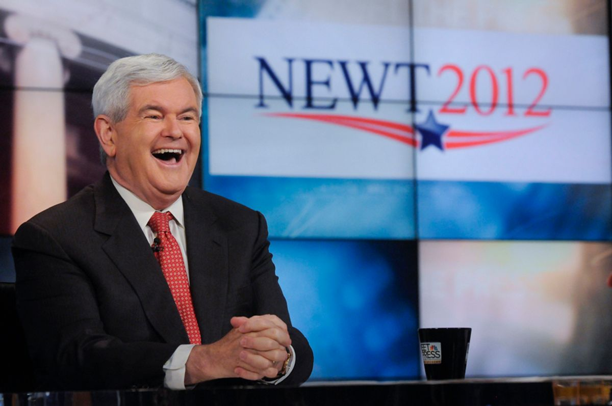 """In this image released Sunday, May 15, 2011, by NBC News former House Speaker Newt Gingrich is interviewed on NBC's """"Meet the Press"""" in Washington Sunday. Gingrich said he is very serious about seeking the U.S. presidency, but laughed off any suggestion that he could end up with the Republican Party's vice presidential nomination next year.  (AP Photo/NBC News, William B. Plowman) (William B. Plowman)"""