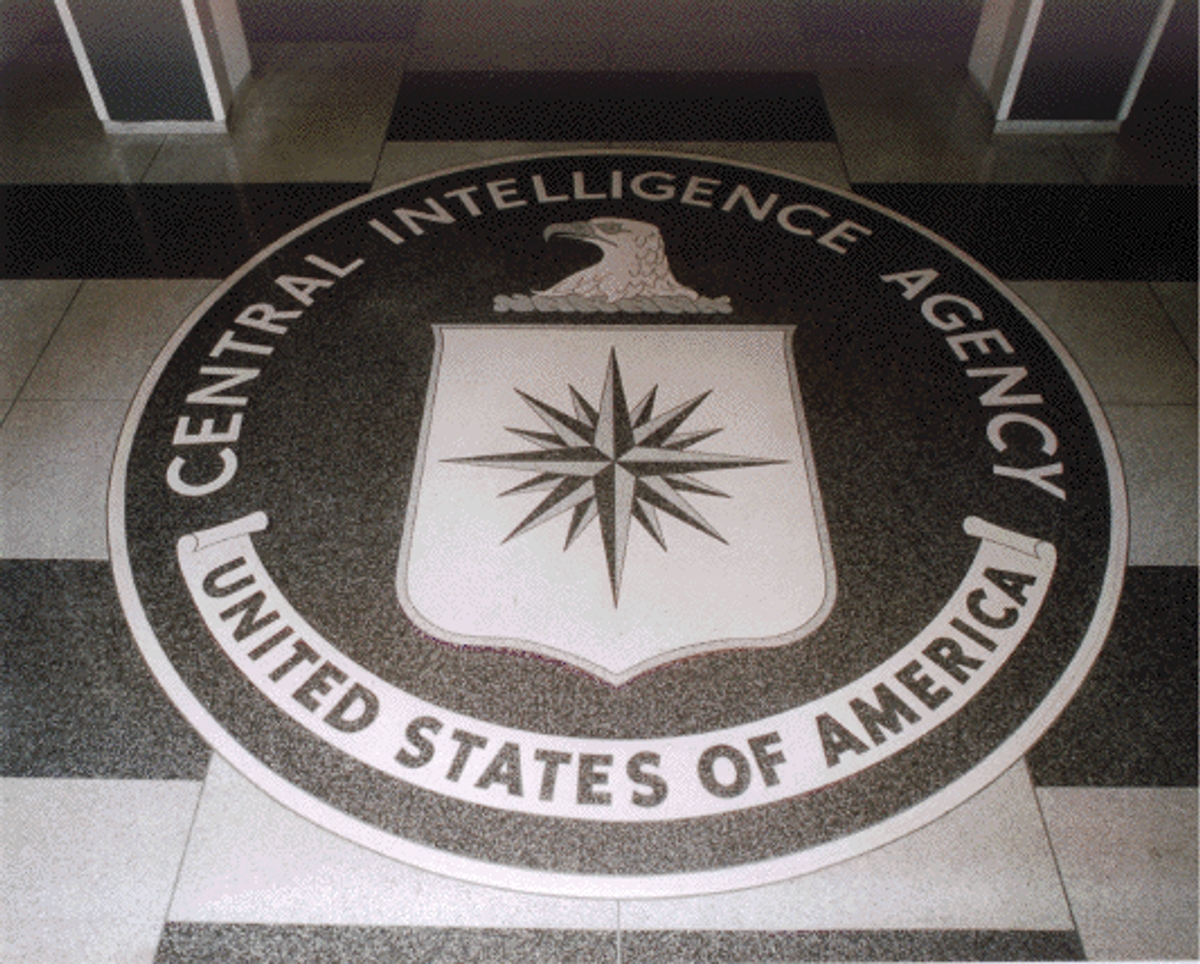 The seal of the U.S. Central Intelligence Agency, on the floor of the lobby of the Original Headquarters Building.