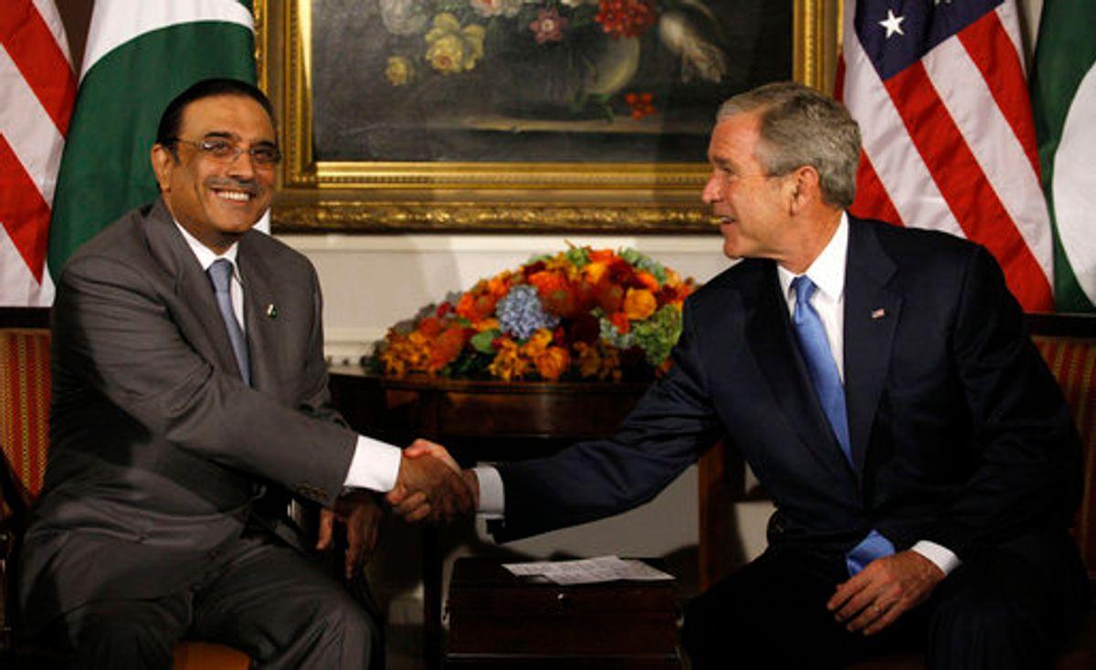 Asif Ali Zardari and George W. Bush shake hands in New York City in 2008