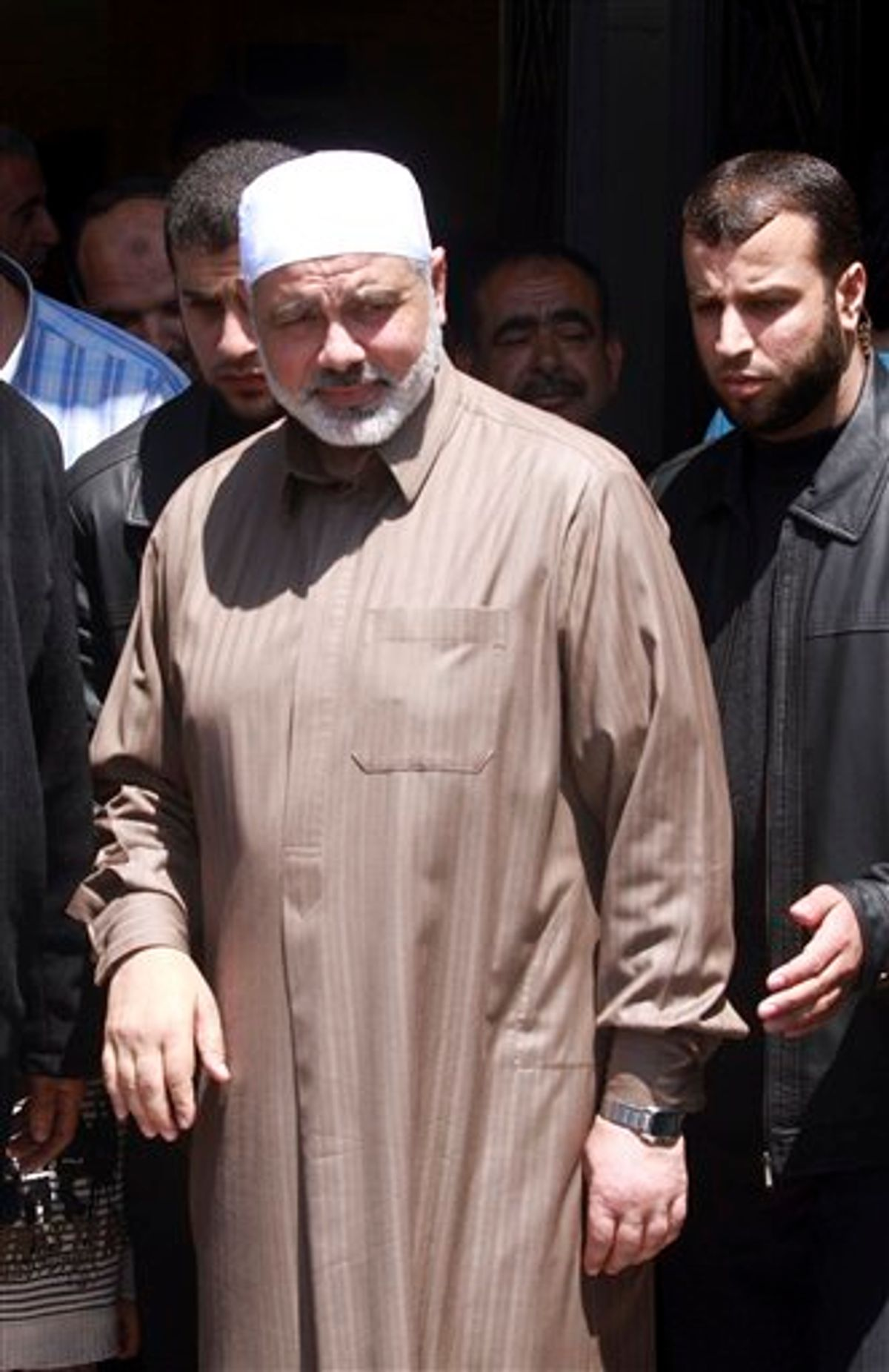 Gaza's Hamas Prime Minister Ismail Haniyeh leaves a mosque after Friday prayers in Gaza City, Friday, April 29, 2011. Officials from the rival Fatah and Hamas movements said Wednesday, they have reached an initial agreement on ending a four-year-old rift that has left them divided between rival governments in the West Bank and Gaza Strip.(AP Photo/Hatem Moussa) (AP)