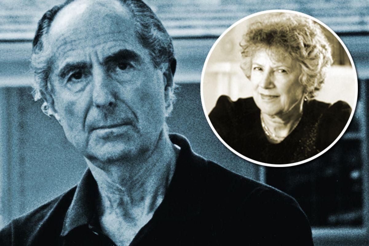 Philip Roth and Carmen Callil (inset)