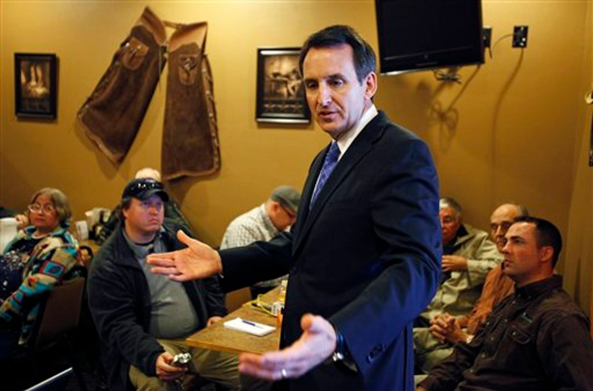 Former Minnesota Gov. Tim Pawlenty speaks to local residents during a breakfast meeting at a Pizza Ranch restaurant, Tuesday, May 3, 2011, in Ames, Iowa. (AP Photo/Charlie Neibergall) (AP)