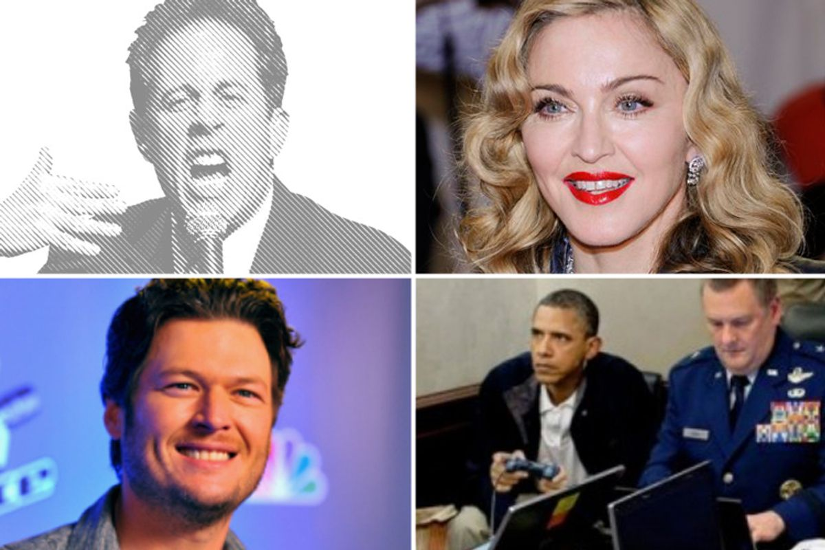 Clockwise from top left: Jerry Seinfeld, Madonna, a Situation Room meme and Blake Shelton.
