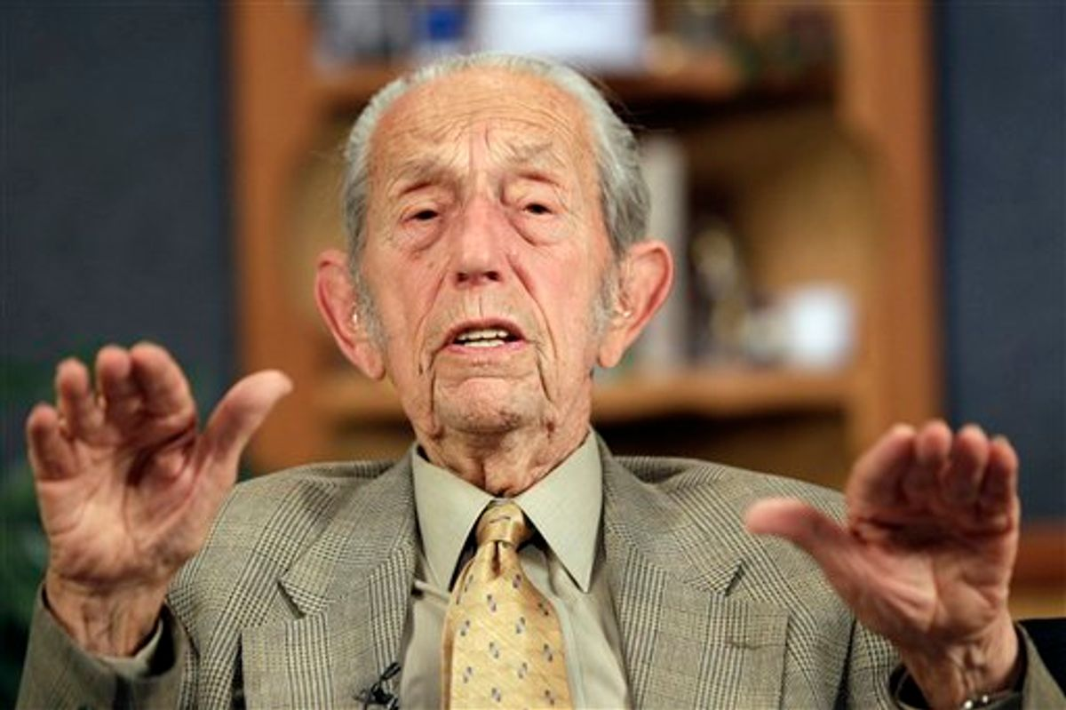 """Harold Camping speaks during a taping of his show """"Open Forum"""" in Oakland, Calif., Monday, May 23, 2011. Camping says his prophecy that the world would end was off by five months because Judgment Day actually will come on October 21. (AP Photo/Marcio Jose Sanchez (AP)"""