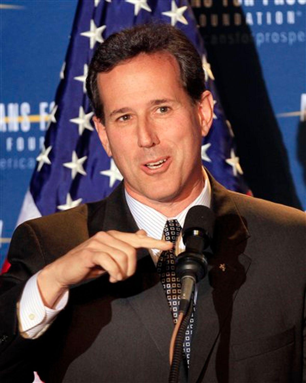 Possible 2012 presidential hopeful, former Republican U.S. Sen., Rick Santorum of Pennsylvania speaks during a dinner sponsored by Americans for Prosperity, Friday, April 29, 2011 in Manchester , N.H. (AP Photo/Jim Cole) (AP)