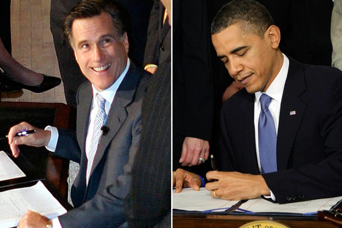 Mitt Romney and Barack Obama, signing healthcare bills.