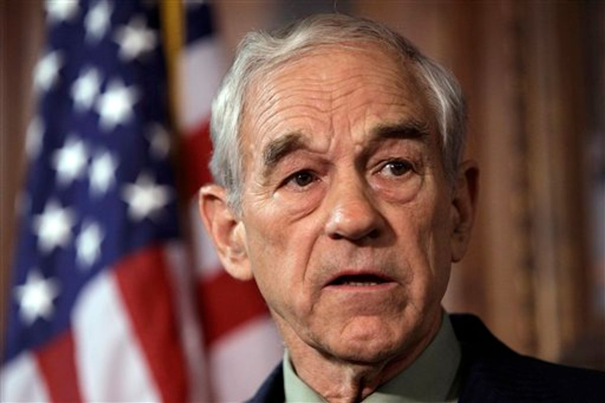 U.S. Rep. Ron Paul, R-Texas, speaks during a news conference Tuesday, April 26, 2011, in Des Moines, Iowa. Paul says he's forming a campaign exploratory committee as he moves closer to again seeking the Republican nomination for president. (AP Photo/Charlie Neibergall) (AP)