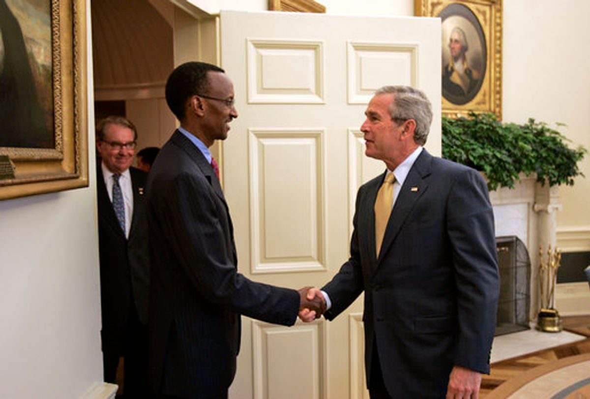 President Paul Kagame of Rwanda with President George W. Bush in the Oval Office Wednesday, May 31, 2006. (Paul Morse)