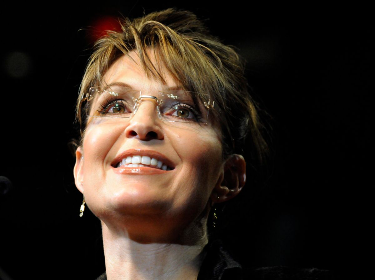 Former Alaska Gov. Sarah Palin speaks to the crowd at a campaign rally for Texas Gov. Rick Perry Sunday, Feb. 7, 2010 in Cypress, Texas. (AP Photo/Pat Sullivan) (Pat Sullivan)