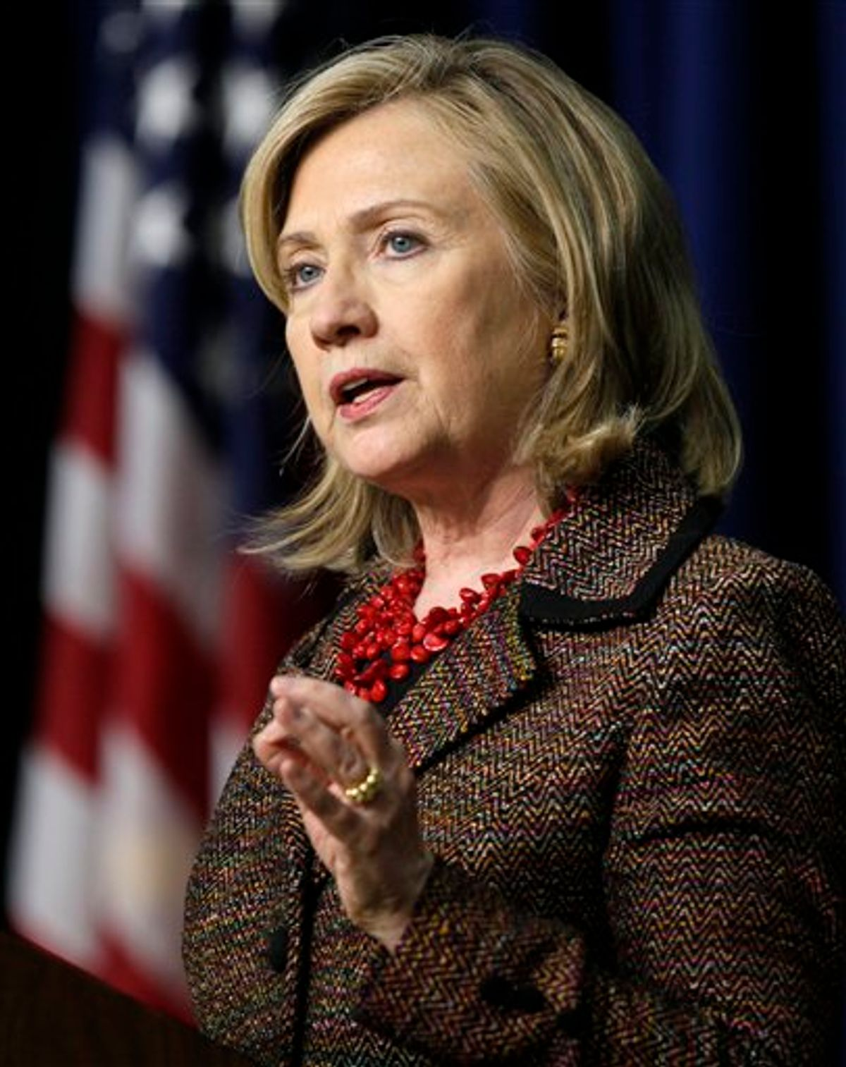 Secretary of State Hillary Rodham Clinton speaks at an International Strategy for Cyberspace event  in the South Court Auditorium of the Eisenhower Executive Office Building, Monday, May 16, 2011.  (AP Photo/Carolyn Kaster)  (AP)