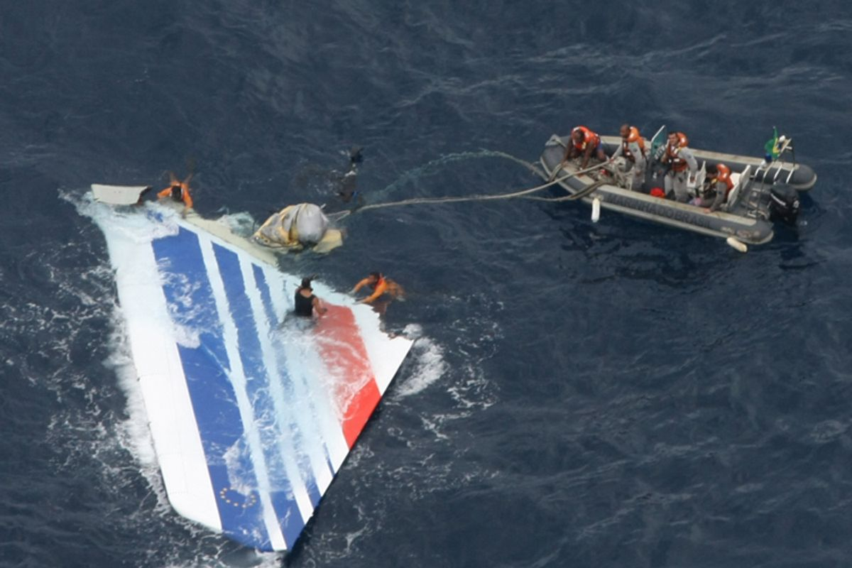 FILE - In this Monday, June 8, 2009 file photo released by Brazil's Air Force, Brazil's Navy sailors recover debris from the missing Air France Flight 447 in the Atlantic Ocean. A year after Air France Flight 447 crashed into the Atlantic ocean, families of some of the 228 victims are demanding Monday May 31, 2010 that the search for the flight recorders, and for answers, continues. (AP Photo/Brazil's Air Force, file)  ** NO SALES  **  (Anonymous)