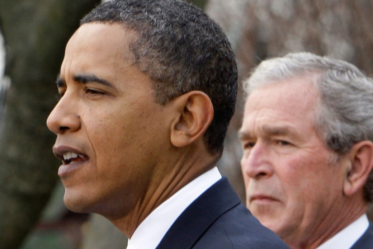President Barack Obama and former president George W. Bush