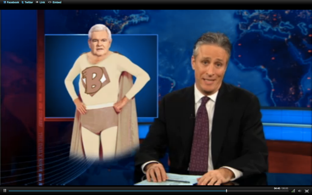 "Jon Stewart on Thursday night's ""Daily Show."""