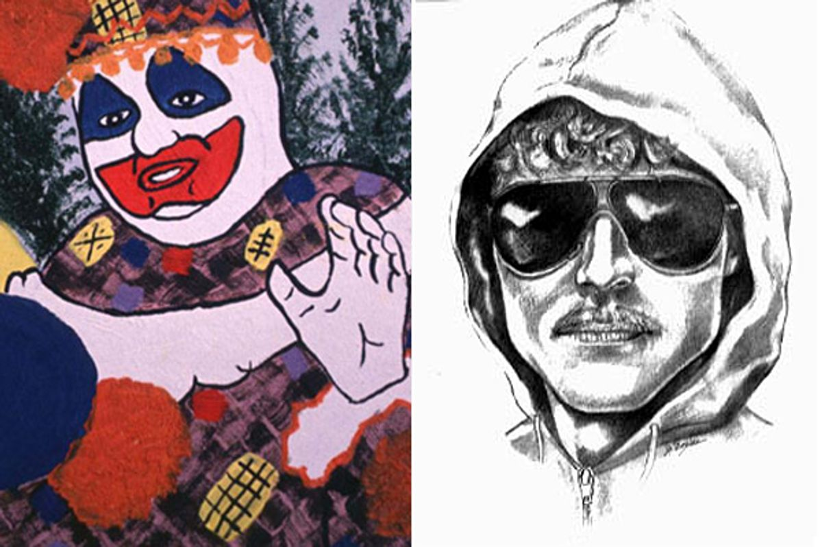 A painting by John Wayne Gacy (left) being auctioned off, and a sketch of the Unabomber, Ted Kaczynski.