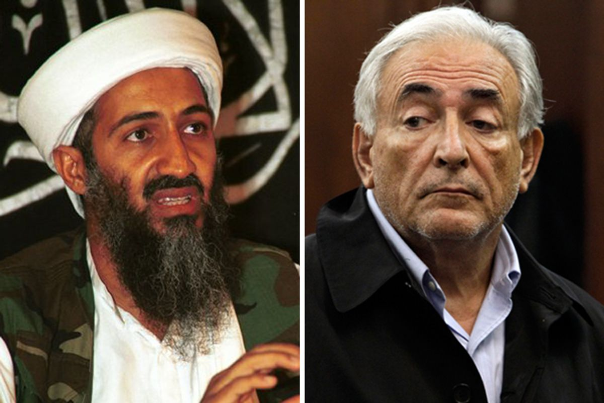 Osama Bin Laden. Right: Dominique Strauss-Kahn, head of the International Monetary Fund, is arraigned Monday, May 16, 2011, in Manhattan Criminal Court