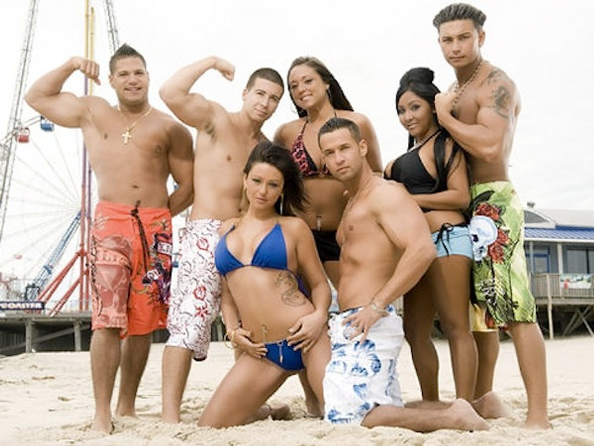 1. Cast of Jersey Shore. It includes Mike Sorrentino front right, Jenni Farley, front left, and Nicole Polizzi, standing second from right.  2.Hyman 3.Vicki Hyman unknown NJ 973-392-1712   Original Filename: Cast_Beach1.JPG   IPTC record 115: The Star Ledger (Mtv)