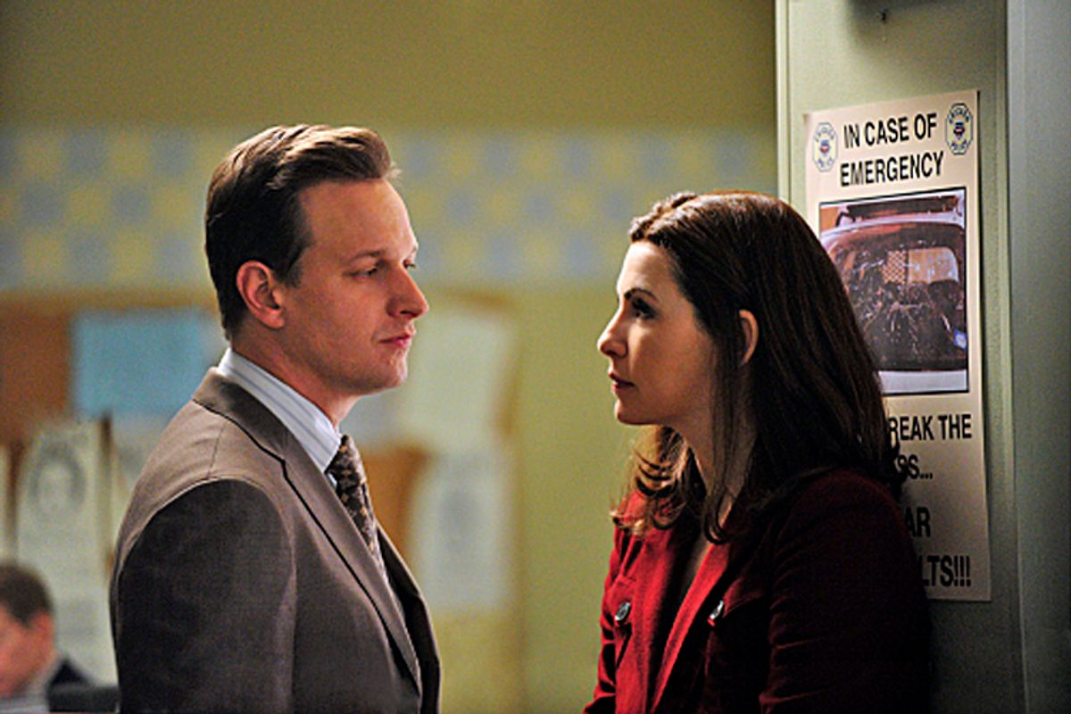 """""""Breaking Up""""--Alicia (Julianna Margulies) and Will (Josh Charles) face a moral dilemma when they must try to turn a client's son against his girlfriend, who are both accused of murder on THE GOOD WIFE, Tuesday, Jan. 11 (10:00-11:00 PM, ET/PT) on the CBS Television Network. Photo: John Paul Filo/CBS  ©2010 CBS Broadcasting Inc. All Rights Reserved. (John Paul Filo)"""