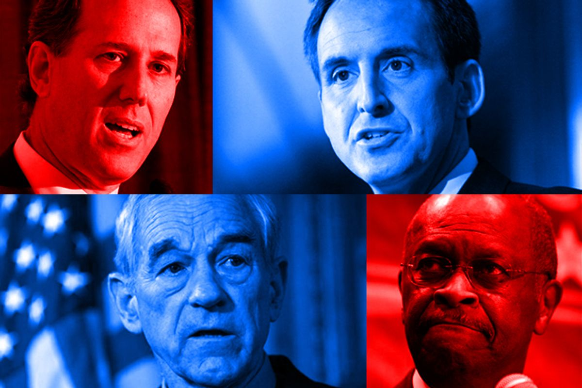 Clockwise from upper left: Rick Santorum, Tim Pawlenty, Herman Cain and Ron Paul