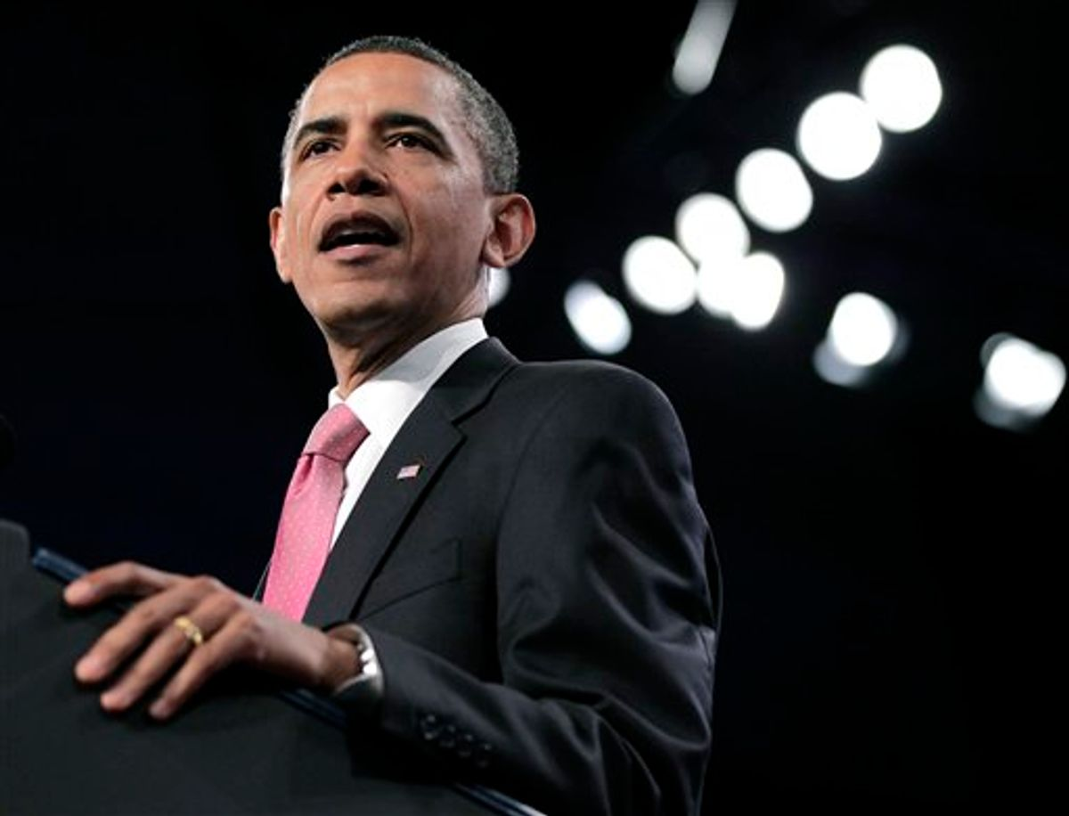 """President Barack Obama tells the American Israel Public Affairs Committee (AIPAC) convention that the bonds between the US and Israel are """"unbreakable"""", Washington, Sunday, May 22, 2011. After a contentious couple of days this week when he clashed publicly with Israeli Prime Minister Benjamin Netanyahu over ideas for a permanent Palestinian state, Obama is focusing on the deep U.S.-Israeli friendship and alliance. (AP Photo/J. Scott Applewhite) (AP)"""