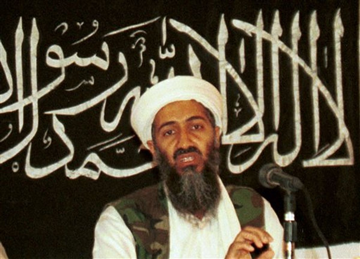 FILE - In this 1998 file photo, Ayman al-Zawahri, left, holds a press conference with Osama bin Laden in Khost, Afghanistan and made available Friday March 19, 2004. A person familiar with developments said Sunday, May 1, 2011 that bin Laden is dead and the U.S. has the body. (AP Photo/Mazhar Ali Khan) (AP)