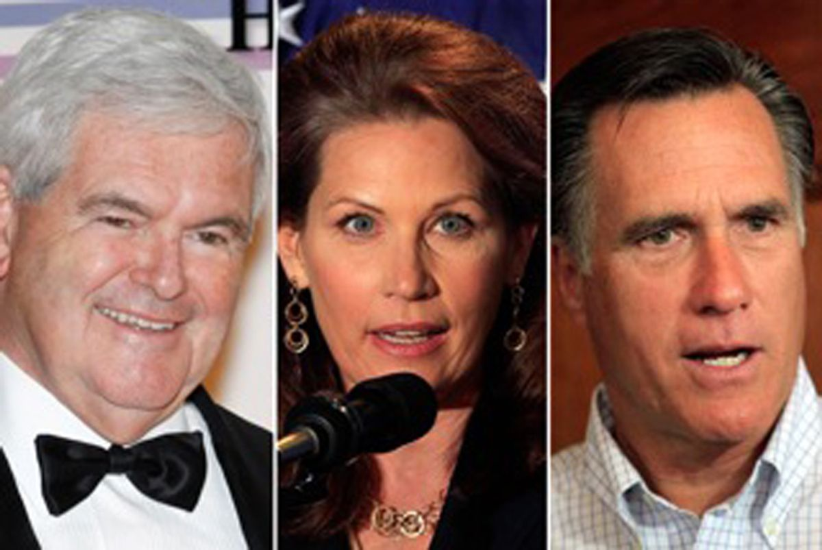 Newt Gingrich, Michele Bachmann and Mitt Romney