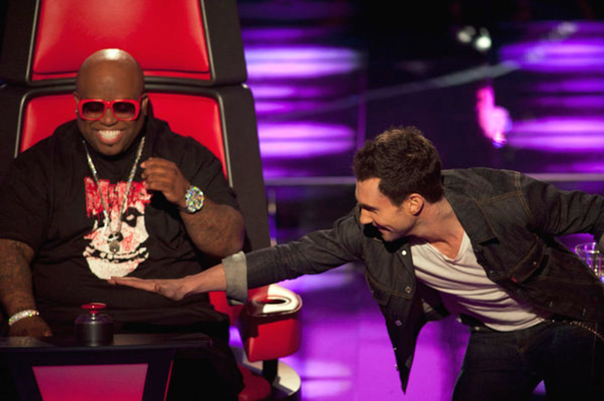 THE VOICE -- Episode 102 -- Pictured: (l-r) Cee Lo Green, Adam Levine -- Photo by: Lewis Jacobs/NBC  (Lewis Jacobs)