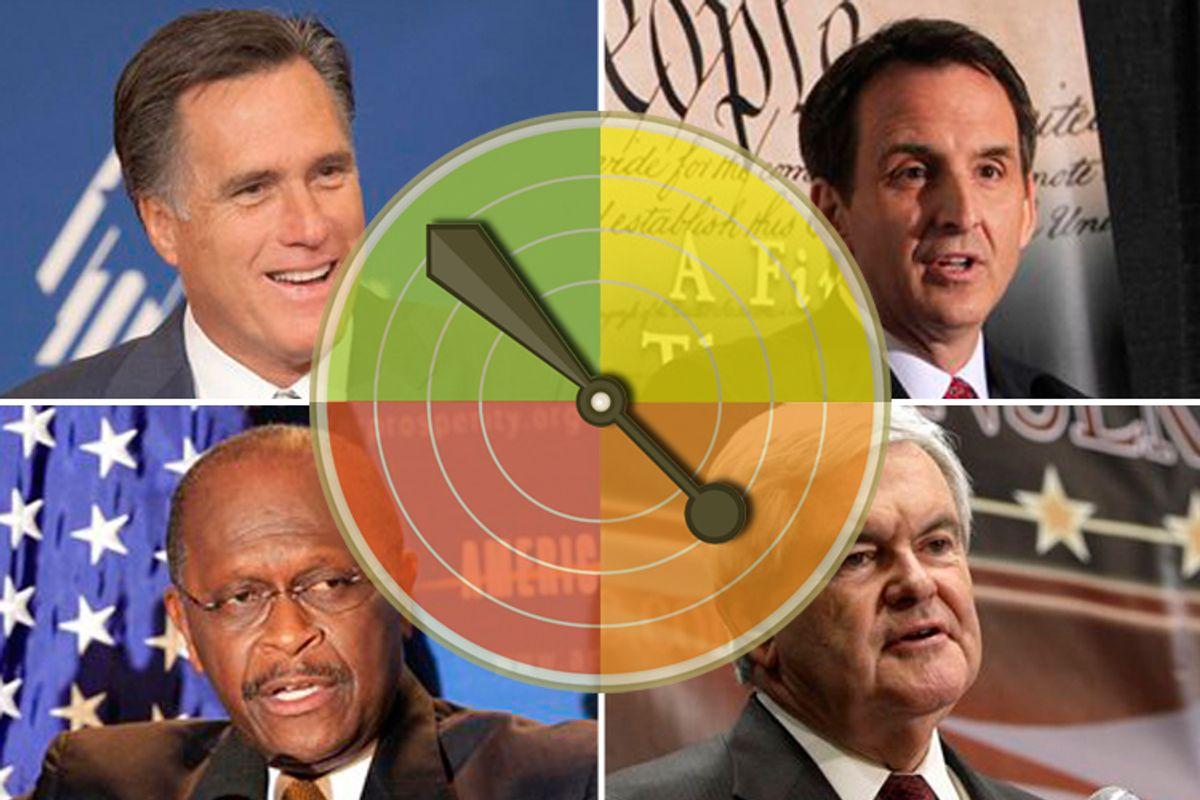Clockwise from upper left: Mitt Romney, Tim Pawlenty, Newt Gingrich and Herman Cain