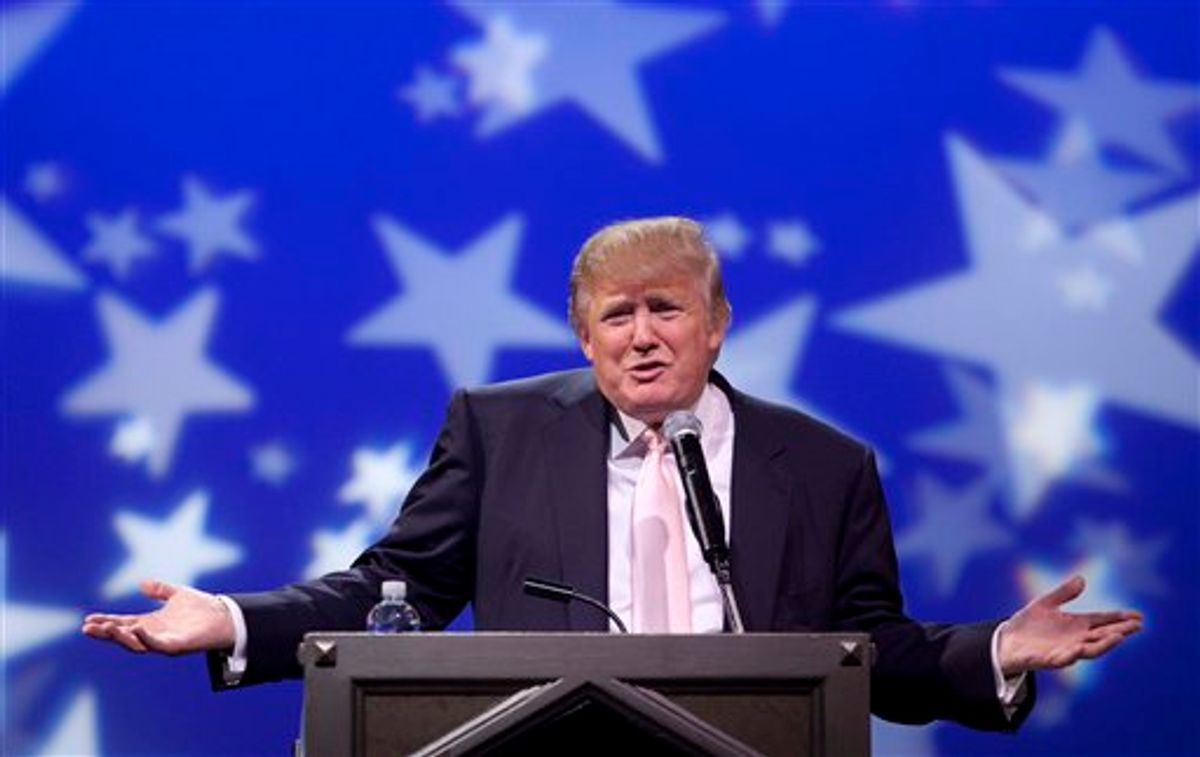 Donald Trump speaks to a crowd of 600 people during a gathering of Republican women's groups, Thursday, April 28, 2011, in Las Vegas. Trump's flirtation with a White House bid continued Thursday night with a lavish reception at the Treasure Island casino in Las Vegas.(AP Photo/Julie Jacobson)  (AP)