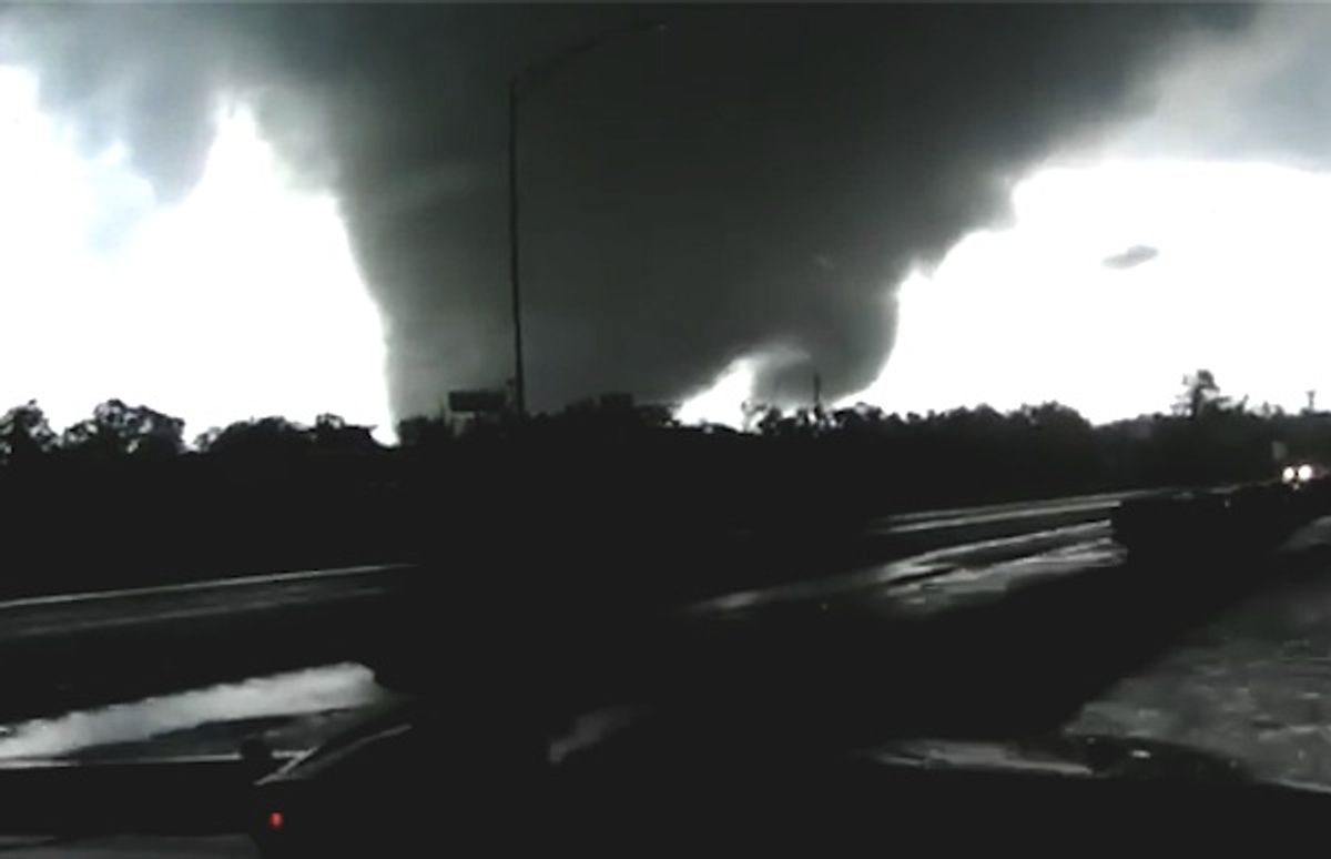 Two f5 tornadoes strike a highway in Alabama.