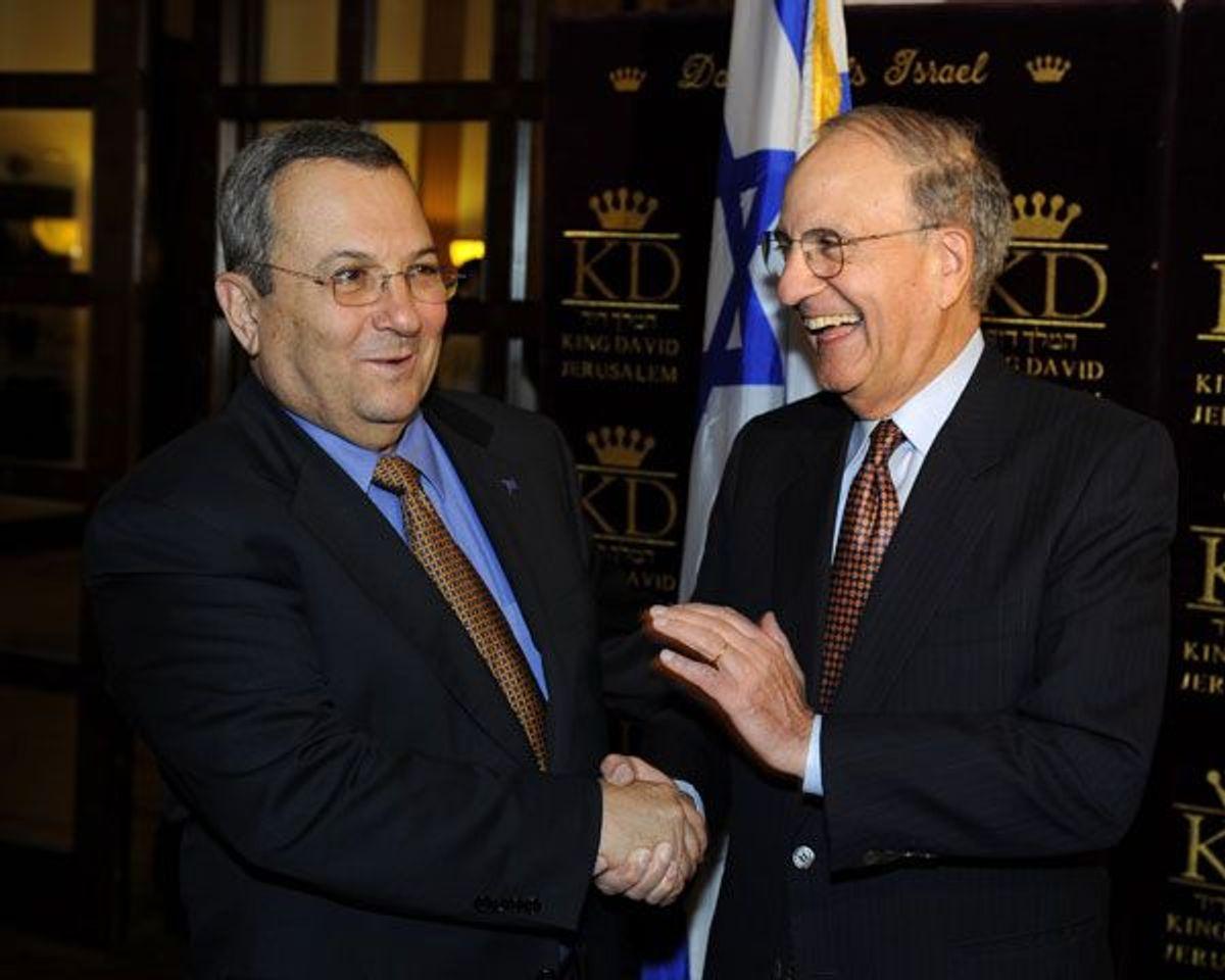 Special Envoy George Mitchell With Israeli Minister of Defense Ehud Barak at the King David Hotel, Jerusalem, 2009.