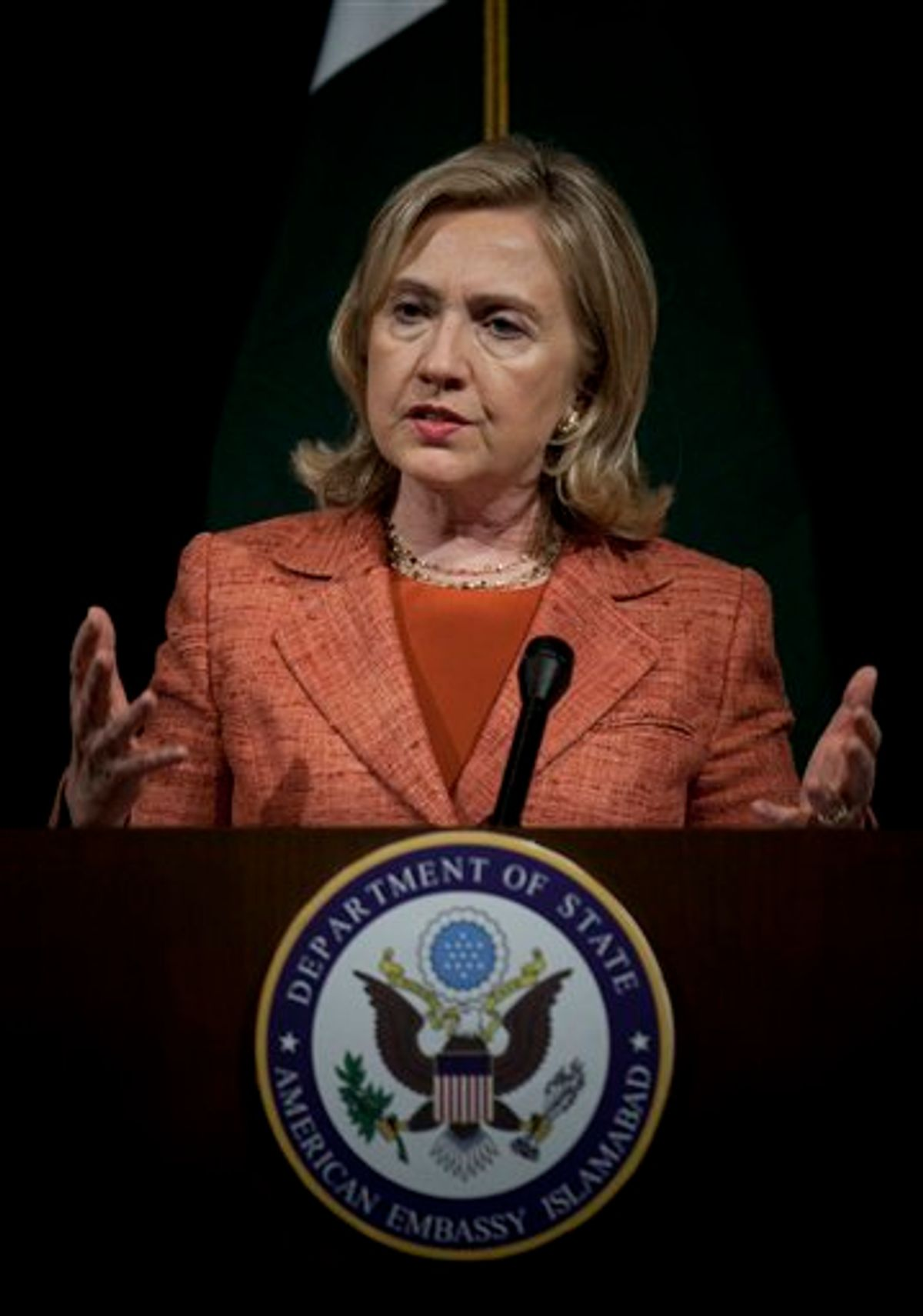 """U.S. Secretary of State Hillary Rodham Clinton addresses a news conference at U. S. embassy in Islamabad, Pakistan Friday, May 27, 2011. Clinton said that relations between the United States and Pakistan had reached a turning point after the killing of Osama bin Laden and Islamabad must make """"decisive steps"""" in the days ahead to fight terrorism. (AP Photo/B.K.Bangash) (AP)"""