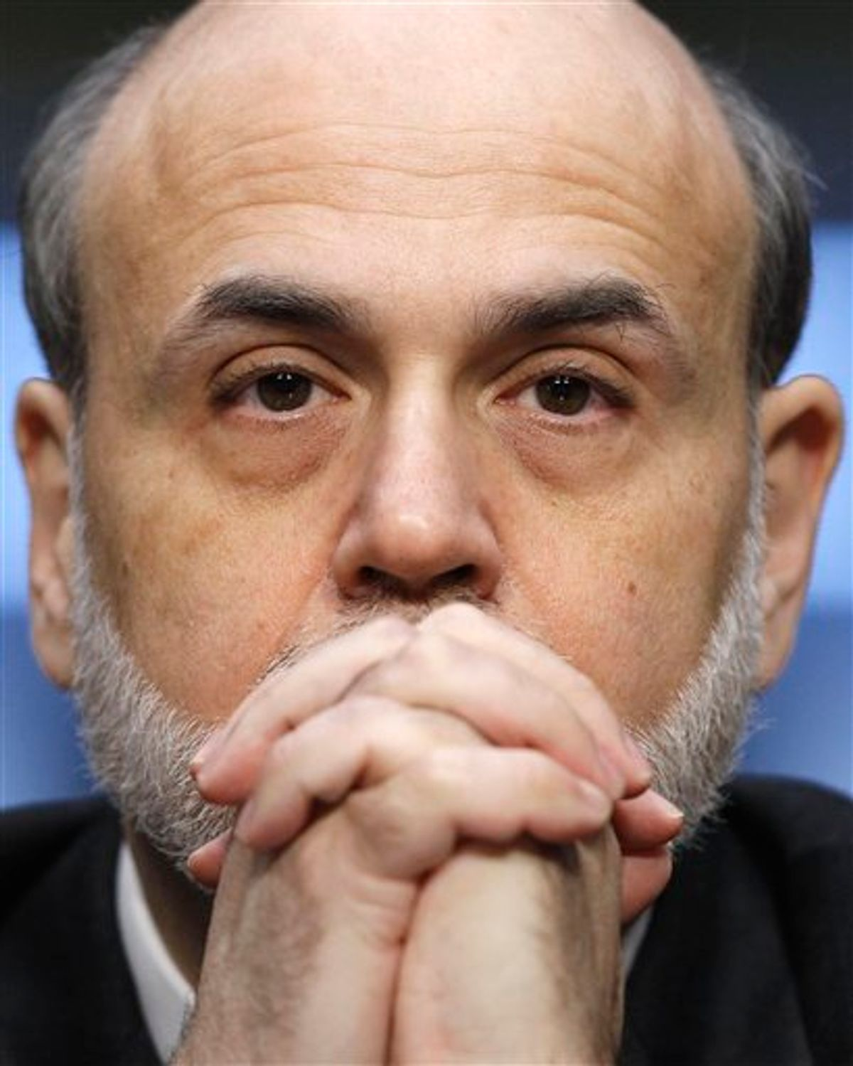 FILE - In his March 1, 2011 file photo, Federal Reserve Chairman Ben Bernanke tetsifies on Capitol Hill in Washington, before the Senate Banking Committee. The United States has never defaulted on its debt and leaders from both parties say they don't want it to happen now. But with partisan acrimony running at fever pitch, and Democrats and Republicans far apart on how to tame the deficit, anything could happen. (AP Photo/Alex Brandon, File) (AP)