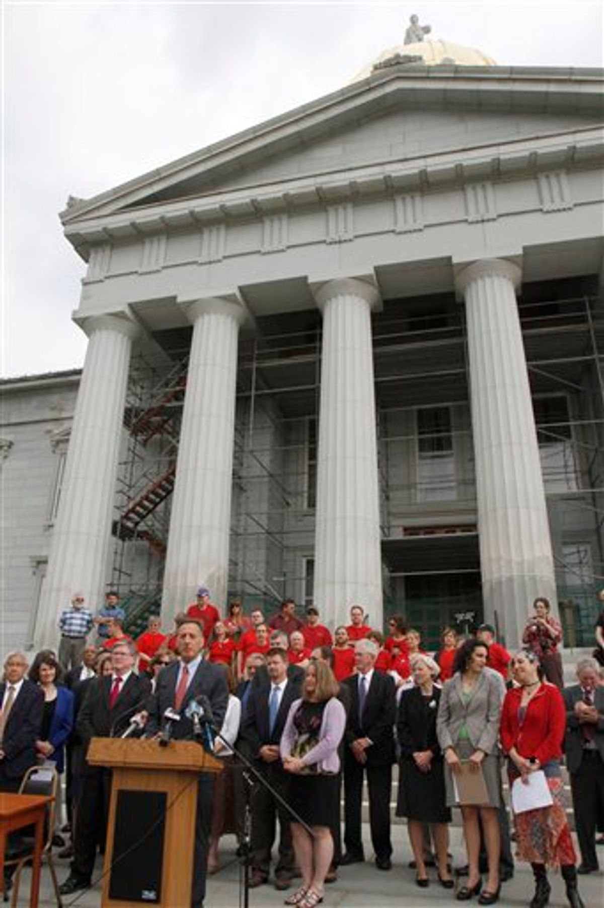 Gov. Peter Shumlin speaks on the steps of the Statehouse prior to signing the health care bill on Thursday, May 26, 2011 in Montpelier, Vt. (AP Photo/Toby Talbot) (AP)