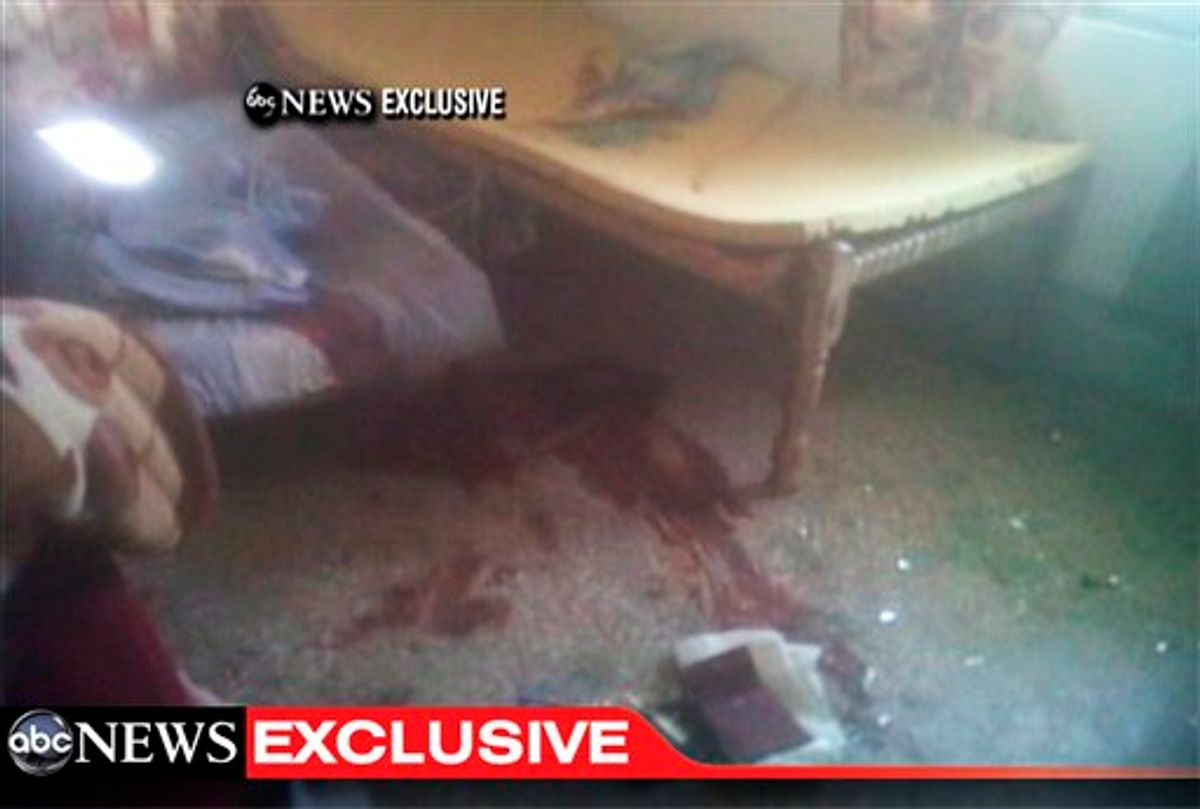 This frame grab from video obtained exclusively by ABC News, on Monday, May 2, 2011, shows a section of a room in the interior of the compound where it is believed al-Qaida leader Osama bin Laden lived in Abbottabad, Pakistan. Bin Laden, the face of global terrorism and mastermind of the Sept. 11, 2001, attacks, was tracked down and shot to death in Pakistan, Monday, May 2, 2011, by an elite team of U.S. forces, ending an unrelenting manhunt that spanned a frustrating decade. (AP Photo/ABC News) (AP)
