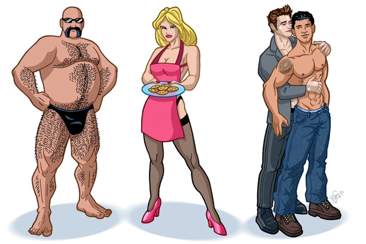 """Artist renderings of some of the most popular sexual archetypes: A """"bear,"""" a """"MILF"""" and """"Twilight's"""" Edward and Jacob in slash fan fiction"""