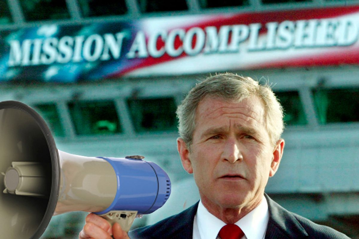"""The White House said on October 29, 2003 that it had helped with the production of a """"Mission Accomplished"""" banner as a backdrop for President George W. Bush's speech onboard the USS Abraham Lincoln to declare combat operations over in Iraq. This file photo shows Bush delivering a speech to crew aboard the aircraft carrier USS Abraham Lincoln, as the carrier steamed toward San Diego, California on May 1, 2003. REUTERS/Larry Downing/FILE  KL/GN/GAC (© Larry Downing / Reuters)"""