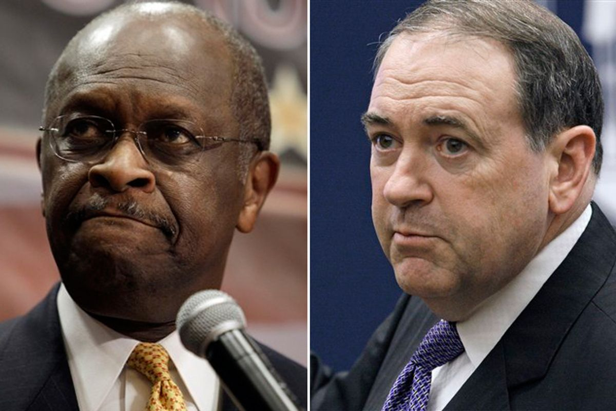 Herman Cain and Mike Huckabee