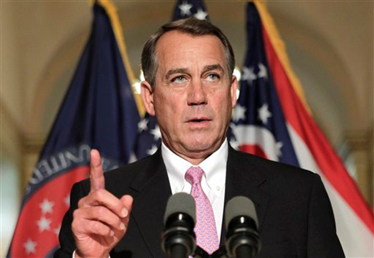 House Speaker John Boehner of Ohio gestures while speaking on Capitol Hill in Washington, Friday, April 8, 2011, to respond to criticism by Senate Majority Leader Harry Reid of Nev. on the budget impasse.  (AP Photo/J. Scott Applewhite) (AP)
