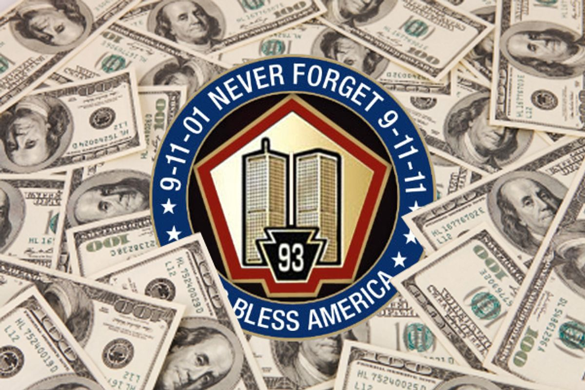 The 9/11 commemorative pin being sold by Grassfire Nation