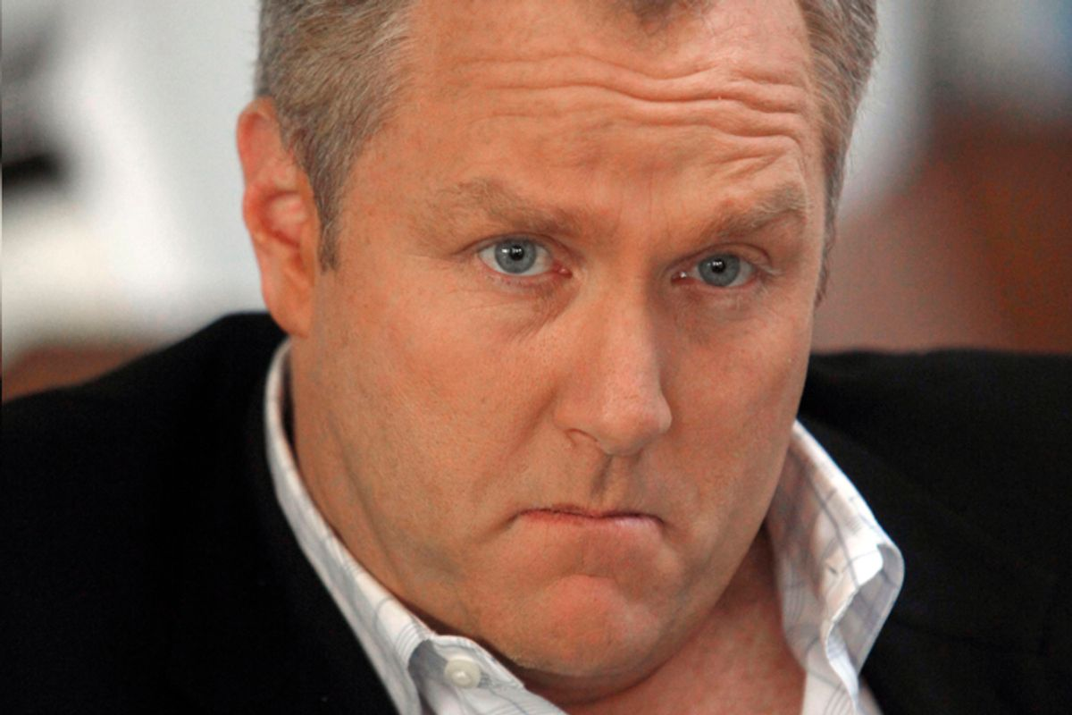 FILE - In this Feb.11,2010 file photo showing conservative online publisher Andrew Breitbart, seen during an at his home in Los Angeles.  Love or hate him, you can't avoid Breitbart on cable TV these days. The 41-year-old father of four from Los Angeles has emerged as one of the most incendiary figures from the Beltway to Hollywood, a minor-league Limbaugh who mixes shock-jock calculation, conservative credo and answer-to-no-one swagger. He is the face of the new conservative outrage, exemplar of the smash-mouth politics that divide America.  (AP Photo/Reed Saxon,File) (Reed Saxon)
