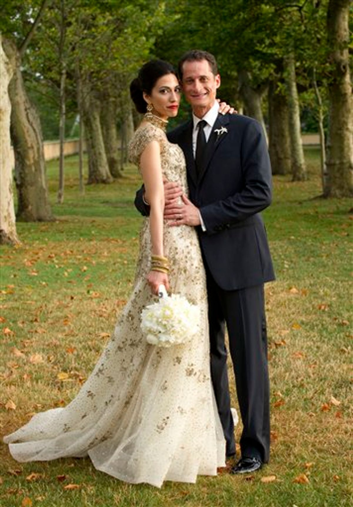 """FILE - In this July 10, 2010, file photo provided by Marie Ternes, Rep. Anthony Weiner, D-N.Y., poses with his wife Huma Abedin, close aide to Secretary of State Hillary Rodham Clinton, for a formal wedding portrait at the Oheka Castle in Huntington, N.Y.  Weiner confessed Monday, June 6, 2011, that he tweeted a bulging-underpants photo of himself to a young woman and admitted to """"inappropriate"""" exchanges with six women before and after getting married.     (AP Photo/Barbara Kinney, File) (AP)"""