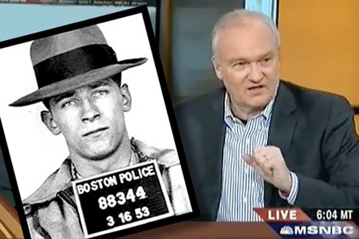 Mike Barnicle. Inset: A mugshot of Whitey Bulger