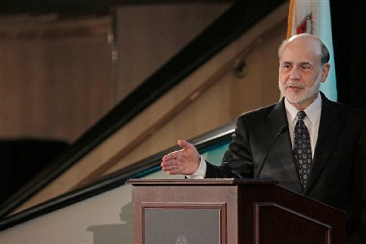 Chairman of the Federal Reserve, Ben Bernanke speaks at a the Federal Reserve Bank of Chicago's 47th Annual Conference on Bank Structure and Competition Thursday, May 5, 2011, in Chicago. Regulators must better understand threats to the financial system to be able to prevent another crisis, Bernanke acknowledged Thursday. (AP Photo/M. Spencer Green) (AP)