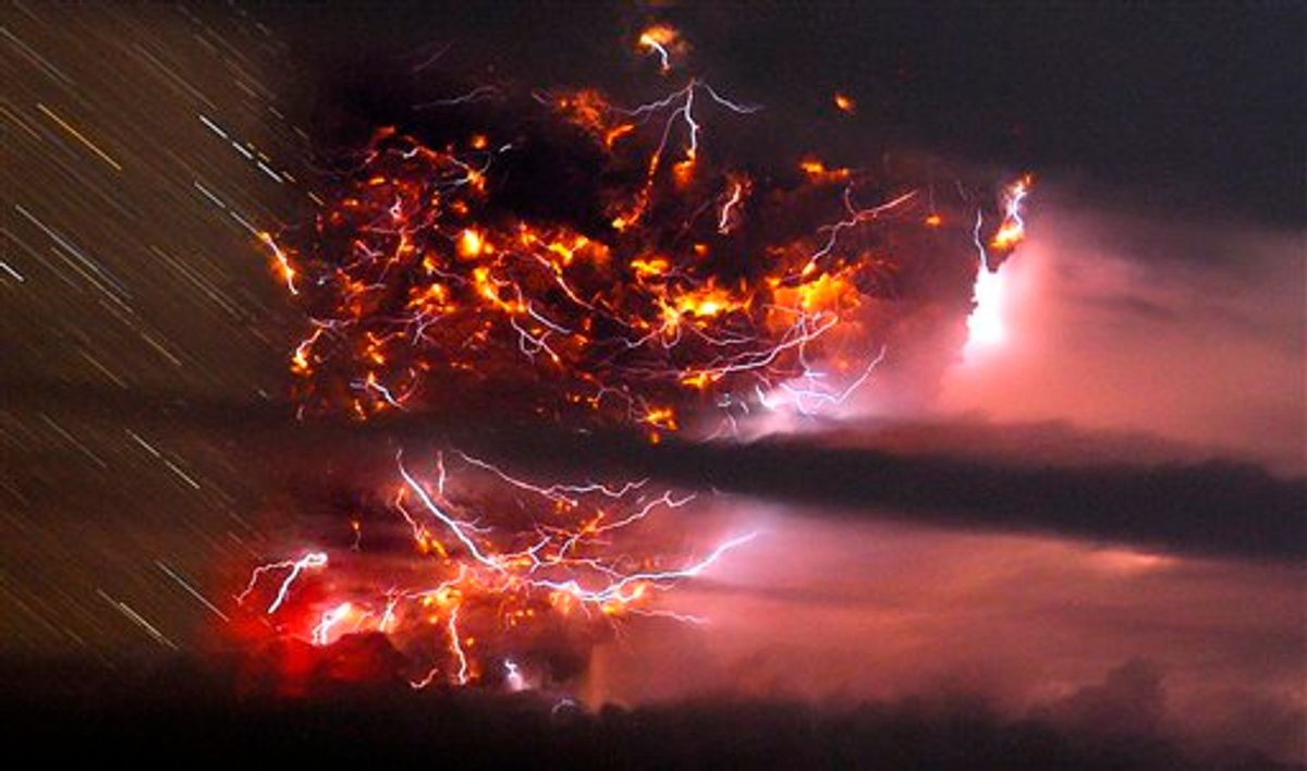 Volcanic lightning is seen over the Puyehue volcano, over 500 miles south of Santiago, Chile, Sunday June 5, 2011. Authorities have evacuated about 600 people in the nearby area. The volcano was calm on Sunday, one day after raining down ash and forcing thousands to flee, although the cloud of soot it had belched out still darkened skies as far away as Argentina. (AP Photo/Francisco Negroni, AgenciaUno) CHILE OUT, NO PUBLICAR EN CHILE,  NO SALES (Ap, Francisco Negroni, Agenciauno)