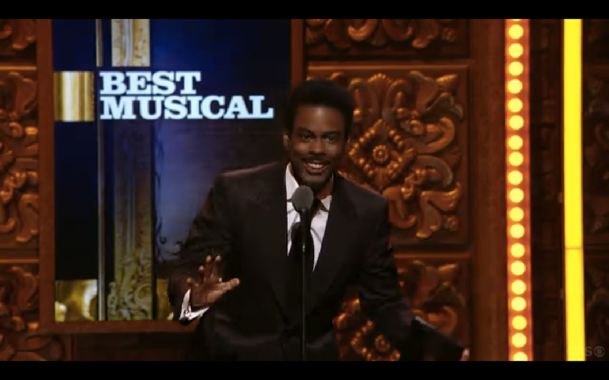 Chris Rock presenting the award for Best Musical at the Tony Awards on Sunday night.