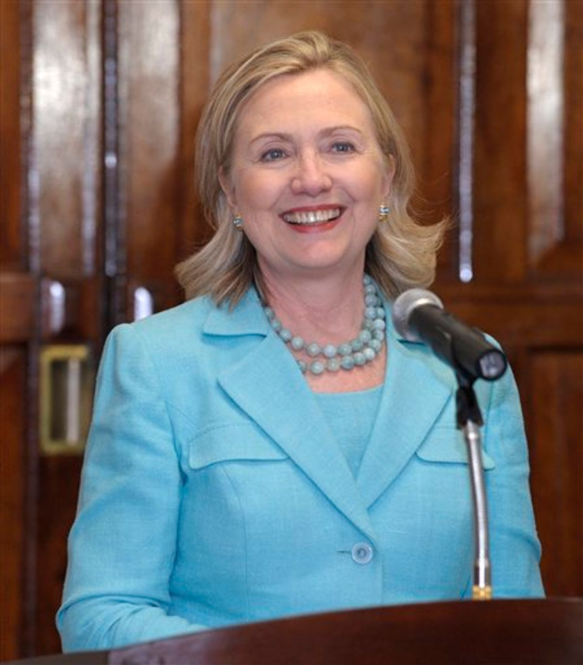 Secretary of State Hillary Rodham Clinton speaks during a press availability with Zambia's President Rupiah Banda during a press availability at the State House in Lusaka, Zambia, Friday, June 10, 2011.  (AP Photo/Susan Walsh, Pool) (AP)