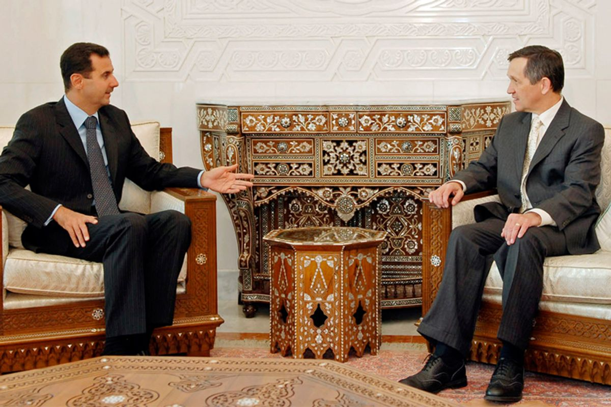 Syrian President Bashar al-Assad and Dennis Kucinich at their September 2007 meeting.