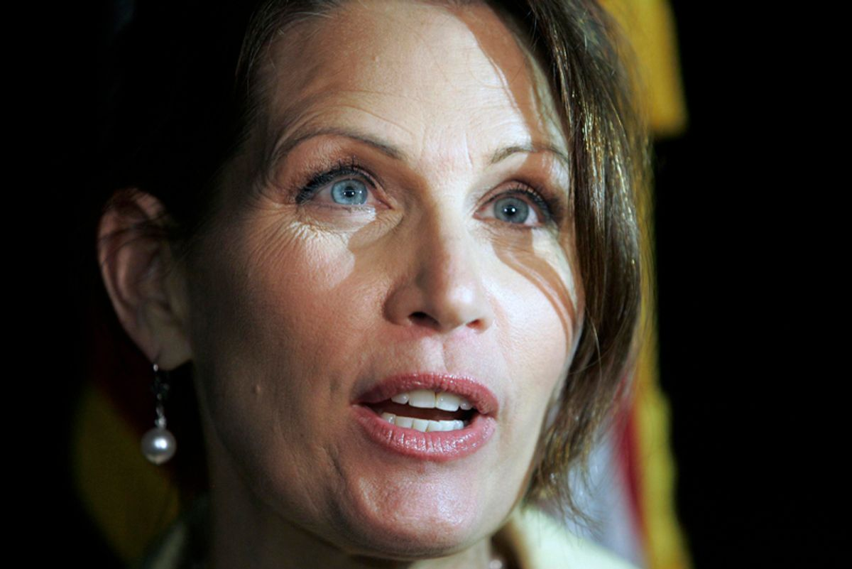 Rep. Michele Bachmann, a tea party favorite considering a run for president in 2012, speaks to the media, Friday, May 20, 2011, at a Republican fundraiser in Archbold, Ohio.  (AP Photo/JD Pooley) (Jd Pooley)
